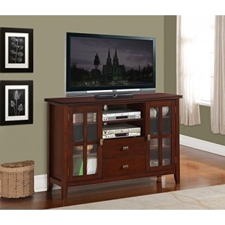 Simpli Home AXCHOL005 Artisan Collection 54-Inch Width by 36-Inch Height Tv Stand, Medium Auburn Brown, 1-Pack