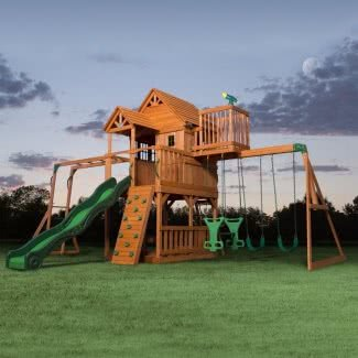All Cedar Swing Set con tobogán curvo