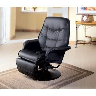 Sillón reclinable giratorio negro clásico