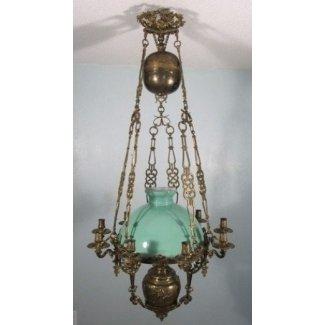 Lámpara colgante de bronce francesa antigua estilo louis xvi
