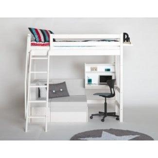 Cama alta con sofá y escritorio