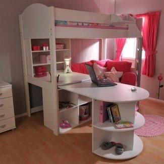 Litera futón rosa con escritorio