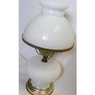 Lámpara de cristal de leche vintage con huracán