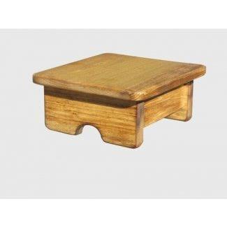 "Pie Taburete Poplar Wood Maple Stain 4 ""Tall Mini (Hecho en los EE. UU.)"