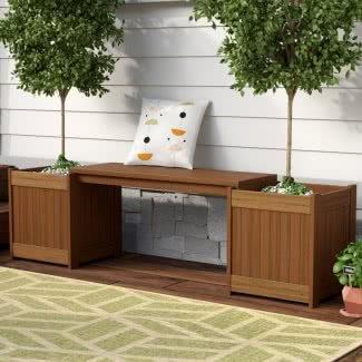 Banco rectangular para jardineras de madera Meranti