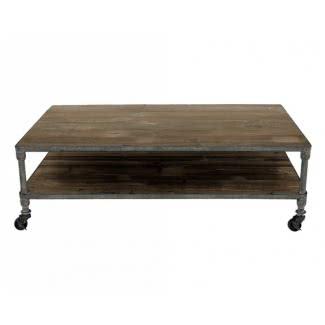 Mesa de centro rústica de hierro gris y madera recuperada