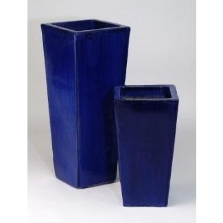 Jardineras de cerámica azul