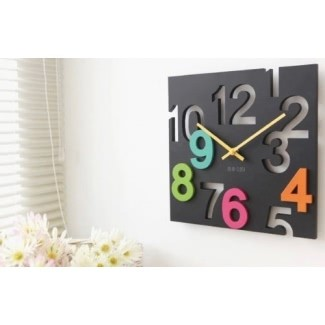 JustNile Modern Creative Square Reloj de pared de 12 pulgadas - 3D Negro Número recortado