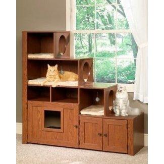 Mueble para gatos de gabinete de caja de arena para escalador de libros