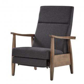 Sillón reclinable sin movimiento manual Solid Rubberwood Mid Century