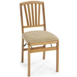 Juego de dos sillas plegables contemporáneas de roble mediano 1
