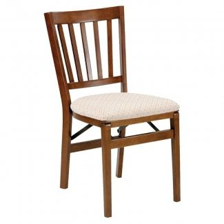 Silla plegable de madera Schoolhouse con asiento tapizado (juego de 2) Acabado: Fruitwood