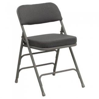 Flash Furniture HA-MC320AF-GRY-GG Silla plegable de metal tapizada en tela gris con bisagras triple y triple curva y cuádruple de la serie Hercules Premium