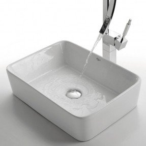 Fregadero rectangular de cerámica para baño