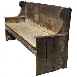 Banco de madera primitivo del siglo XVIII