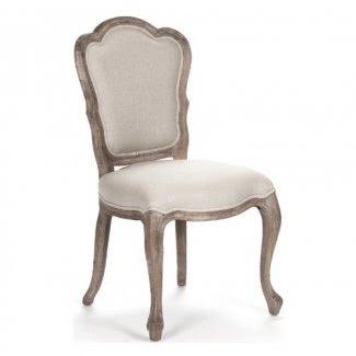 Par de sillas de comedor con respaldo festoneado francés Bertha