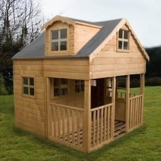 Casa de juegos grande de 2 pisos con ventanas dorma en el frente de la terraza para niños