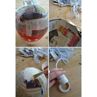 Pantalla de lámpara de bricolaje estilo japonés de papel maché 1