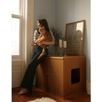 Mueble de madera para caja de arena para gatos 1