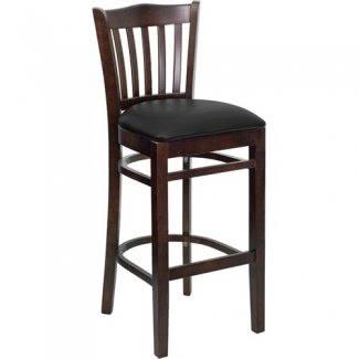 Flash Furniture XU-DGW0008BARVRT-WAL-BLKV-GG Taburete de bar de madera para restaurante con respaldo de listones verticales y acabado en nogal serie Hercules con asiento de vinilo negro