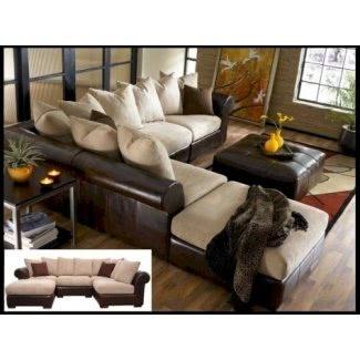 Sofá seccional de cuero y tela