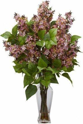 Arreglo de flores de seda lila con jarrón decorativo