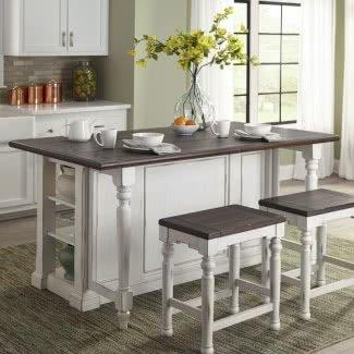 Isla de cocina de madera de álamo rectangular blanca