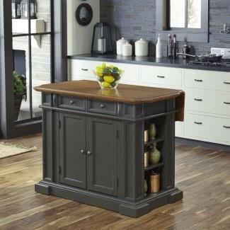 Isla de cocina rectangular de madera con tapa de roble gris