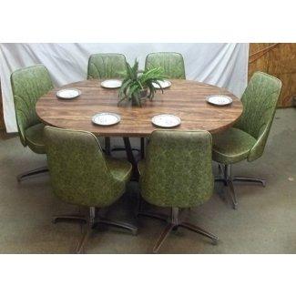 Mesa Chromcraft 6 sillas comedor verde de mediados de siglo 60s 70s
