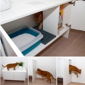 Caja de arena para gatos de bricolaje