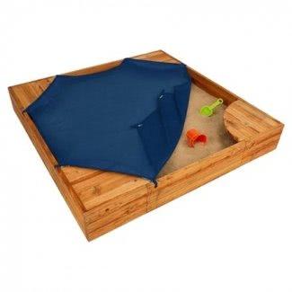 Patio trasero 5 'Caja de arena cuadrada con cubierta