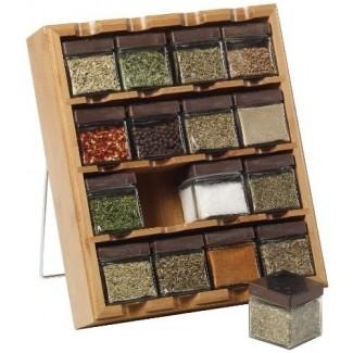 Estante de especias Kamenstein de 16 cubos de bambú con etiquetas de hojas