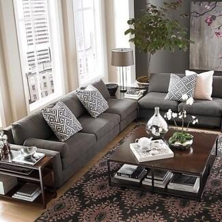 Ideas de sala de estar con sofá gris oscuro