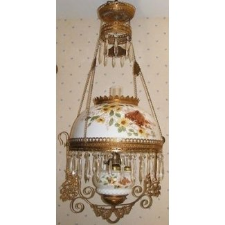 Lámpara de aceite colgante bh antigua con cabina y pájaros