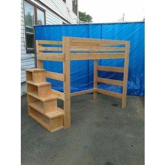 Cama alta resistente de tamaño completo con estante para escalera