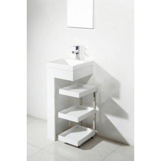 Estante de baño de mueble de tocador portátil móvil de lavabo de pedestal pequeño de resina