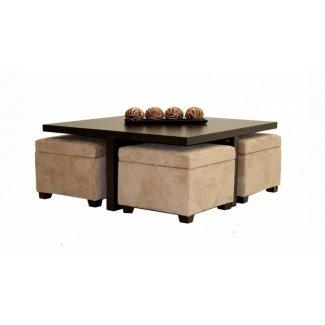 Mesa de centro Club con 4 otomanas de almacenamiento color chocolate y beige