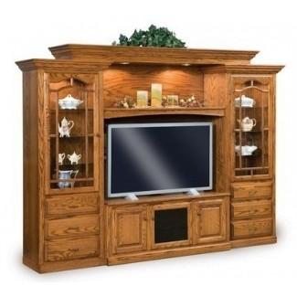 Amish tv entertainment center unidad de pared de medios de madera maciza de roble