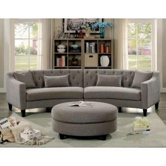 Sofá seccional curvo de lino