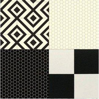 Cojín para piso vinilo negro blanco diseño hoja cocina baño no