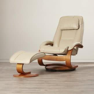 Sillón reclinable giratorio manual de cuero genuino con otomana integrada