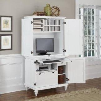 Home Styles 5543-190 Bermuda Armario compacto para computadora y aparador, blanco cepillado