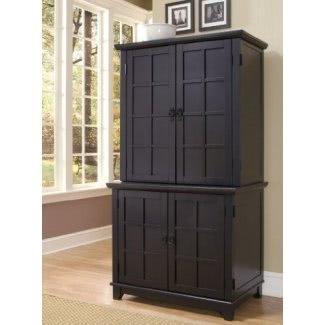 Gabinete de oficina compacto de estilo hogareño 5181-190 Arts and Crafts con aparador, acabado negro