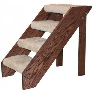 Premier Pet Steps Escalones abiertos altos con contrahuella, huella alfombrada con una rica mancha de cereza, 24 pulgadas