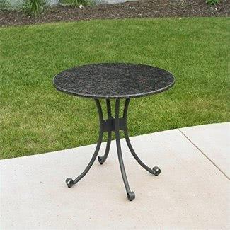 Mesa de bistró de patio para sala grande al aire libre con tablero de granito
