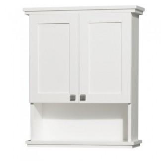 Wyndham Collection WCV8000WCWH Gabinete de baño de montaje en pared Acclaim con herrajes de cromo cepillado, blanco