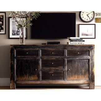 Mesa para televisor debajo de la pared