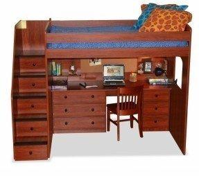 Berg Furniture Utica Dormitorio completo Cama alta con escaleras