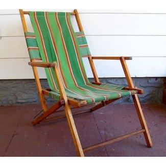 Playa plegable de madera y lona vintage