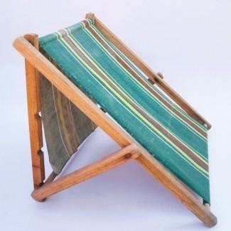 Salón de playa de tela de lona de rayas plegables de madera de los años 30 antiguos